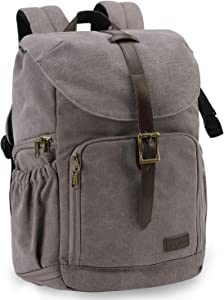 "BAGSMART Camera Backpack, Water Resistant DSLR Camera Bag Canvas Bag Fit up to 15"" Laptop with Rain Cover, Tripod Holder for Women and Men (Grey)"
