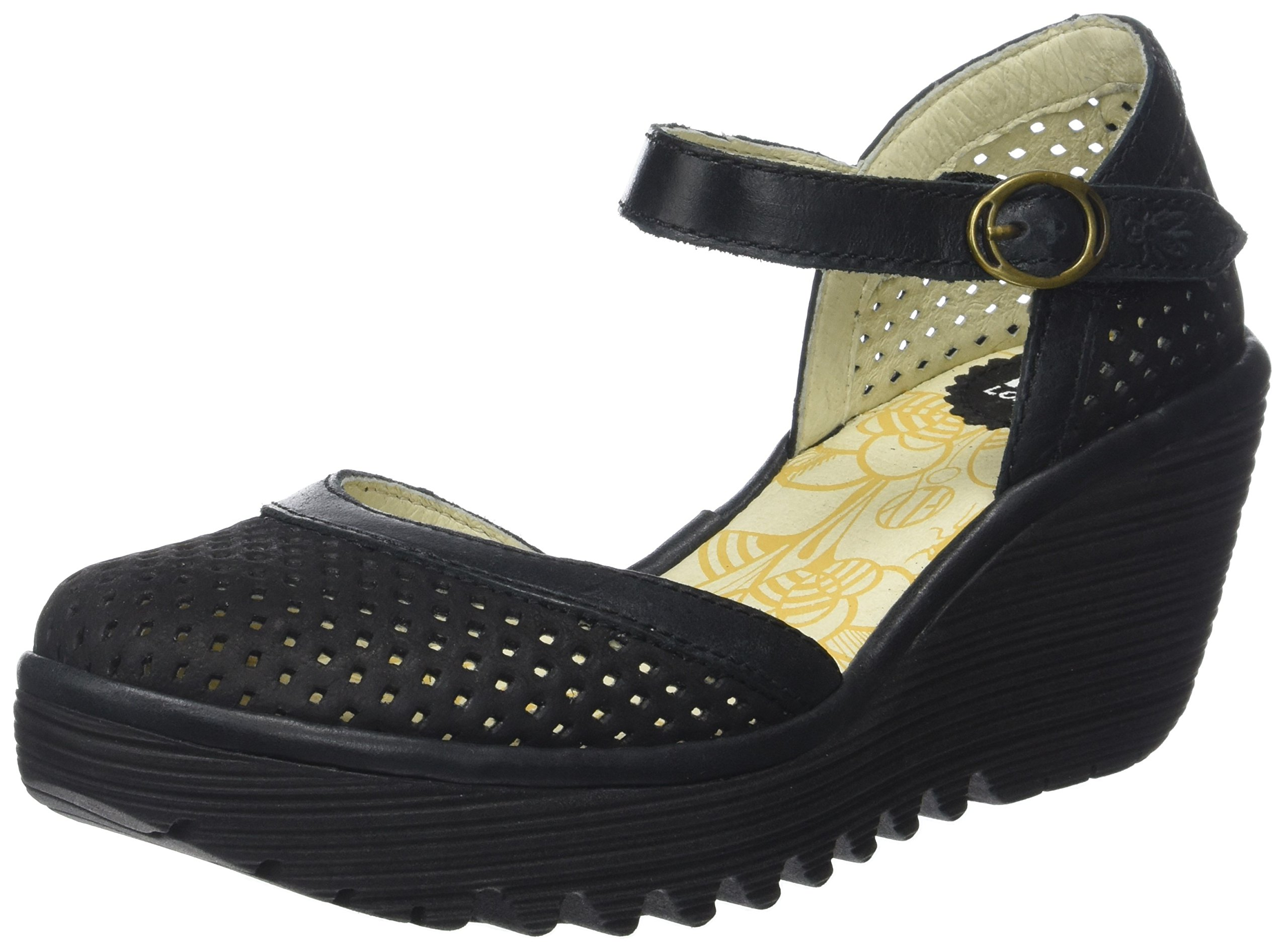 FLY London Womens Yupi Wedge Heel Leather Cut Out Buckle Summer Shoes - Black/Black - 6