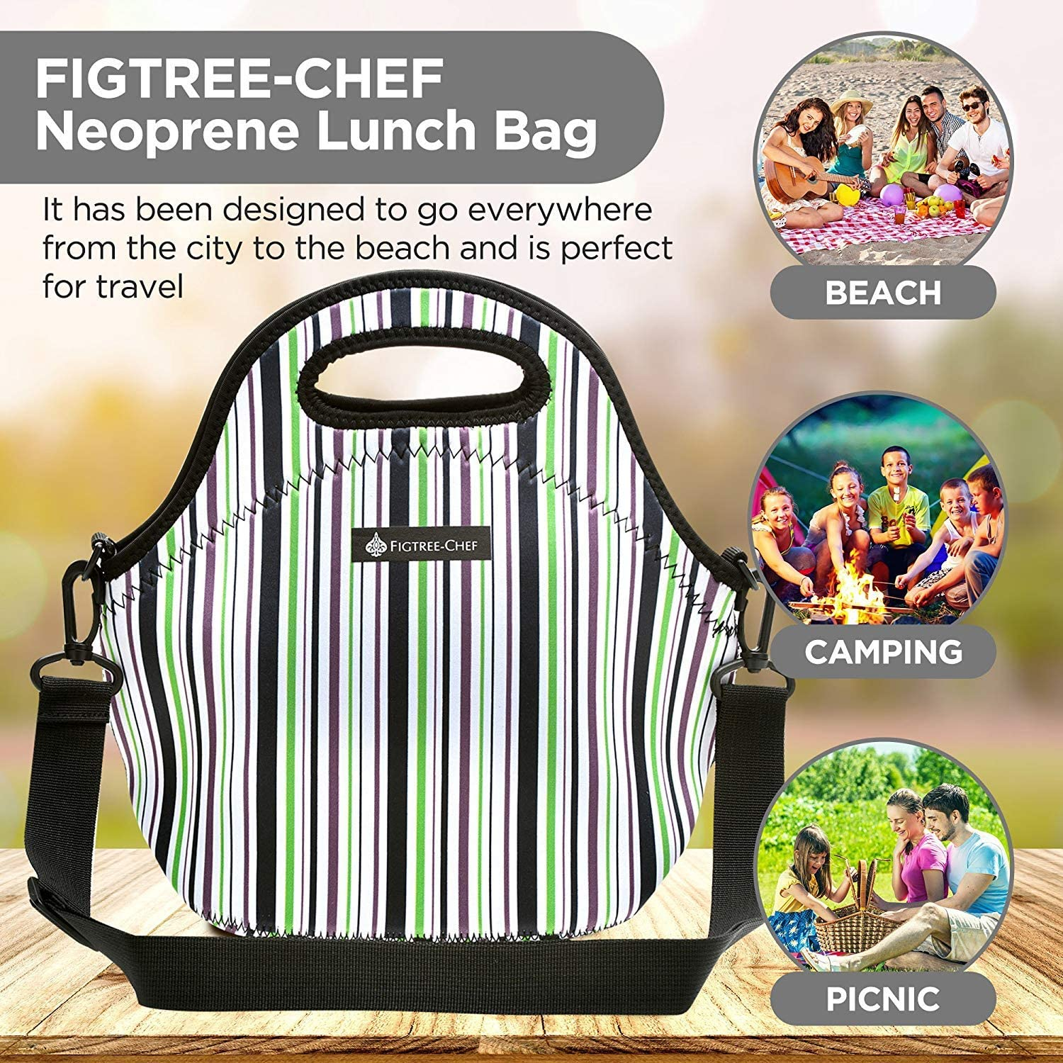Machine Wash Unique Design FIGTREE-CHEF Small Neoprene Lunch Bags for Women with Shoulder Strap Picnic Perfect Folds Flat