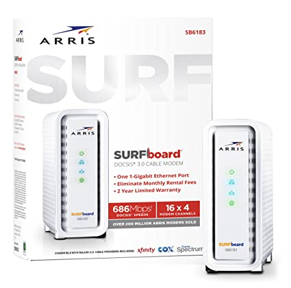 ARRIS Surfboard (16x4) DOCSIS 3 0 Cable Modem, 686 Mbps Max Speed,  Certified for Comcast Xfinity, Spectrum, Cox, Cablevision & More (SB6183  White)
