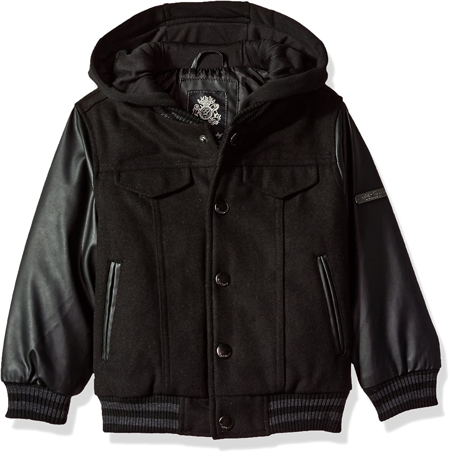 English Laundry Toddler Boys' Outerwear Jacket (More Styles Available), Fleece Hood-E266-Black, 4T