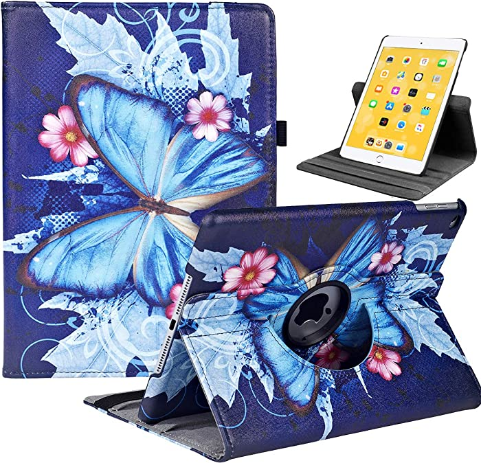 iPad 9.7 2018/2017, iPad Air 2, iPad Air Case - Rotating Stand Protective Cover with Auto Sleep Wake for Apple New iPad 9.7 inch (6th Gen, 5th Gen) / iPad Air 2013 Model(Blue Butterfly)