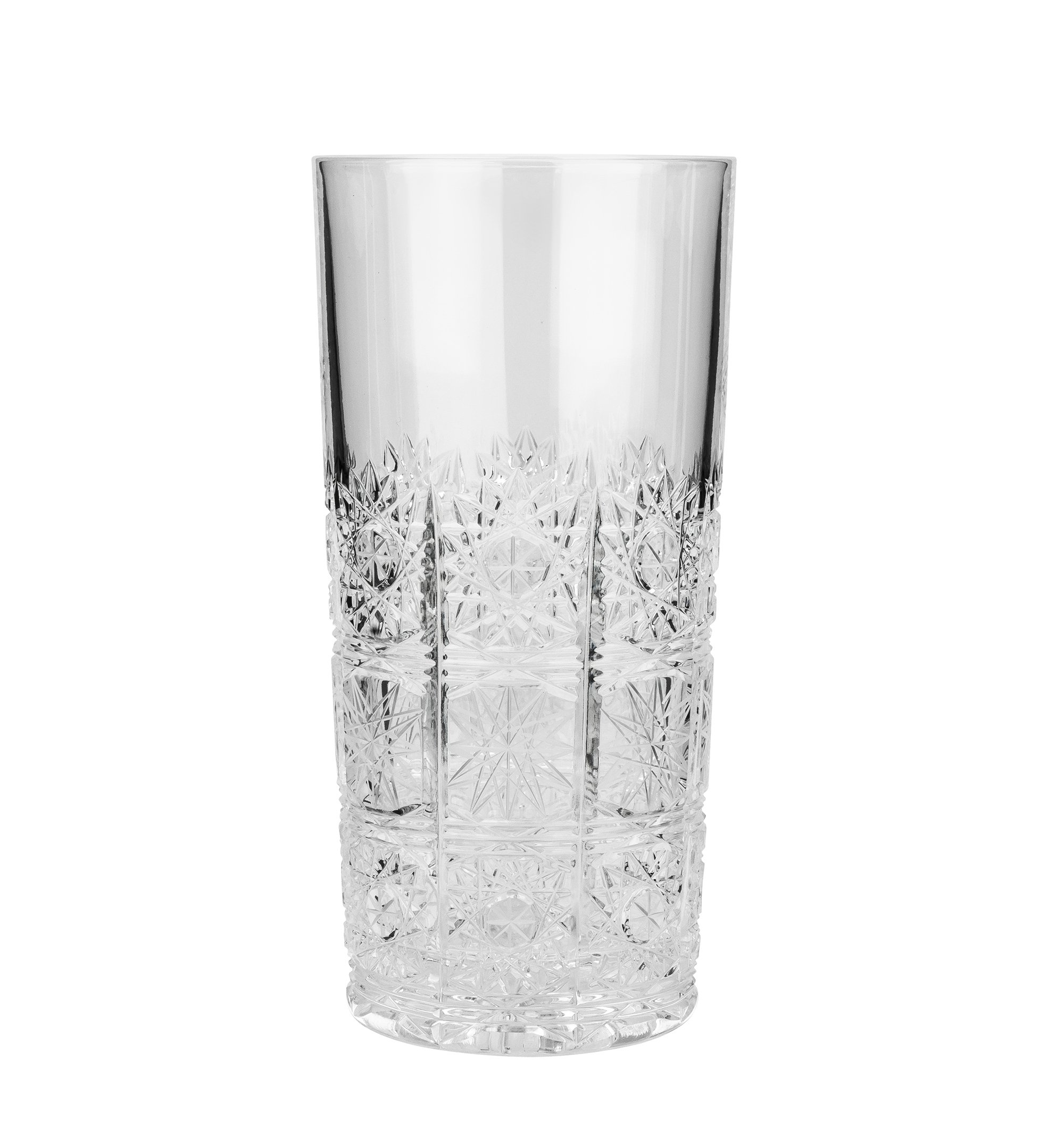 Aurum Crystal AU50845, 12 Oz Hand-Made Crystal Highball Tumblers, Clear Drinking Iced Tea Beverage Cocktail Glasses with Heavy Base, Wedding Gift Drinkware, Set of 6