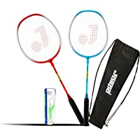 Jaspo GT 303 Intact Red/Blue Badminton Set(2 Badminton Racket,5 Feather Shuttle Cork,Carry Bag)