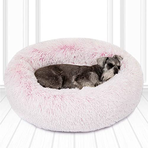 Friends Forever Donut Cat Bed, Faux Fur Dog Beds for Medium Small Dogs – Self Warming Indoor Round Pillow Cuddler Pink Tan Grey Ivory
