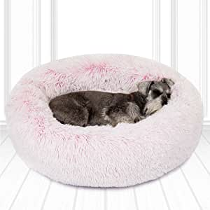 Friends Forever Fluffy Pink Dog Bed for Pet Comfy, Donut Calming Dog Beds for Medium Dogs, 30 X 30 Inch