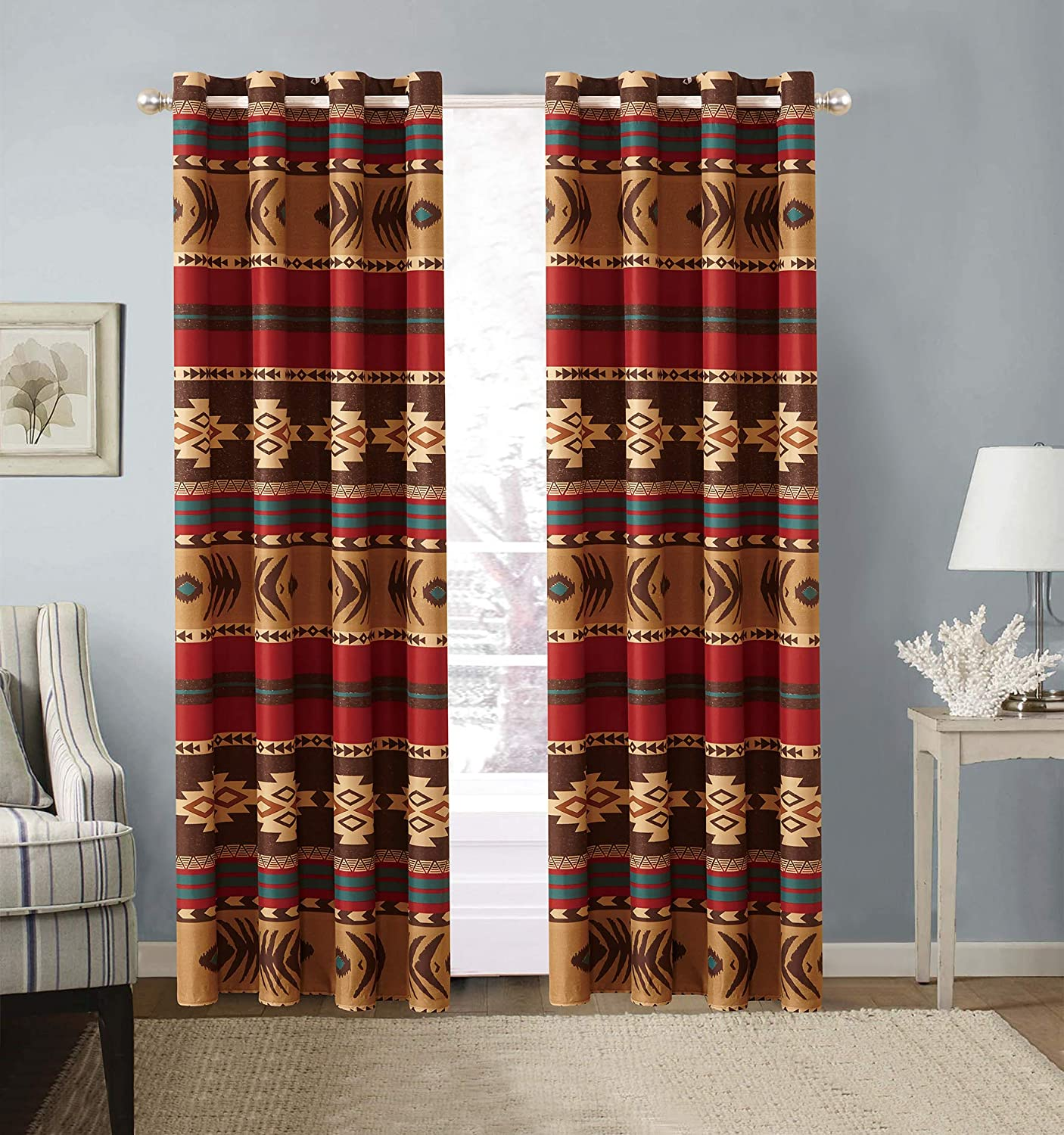 Rustic Western Native American 2 Piece Window Curtain Treatment Two Piece Drapes with Grommets in Brown Beige & Burgundy (2 Panels - 54x84 Each) Mojave Curtain 2PC