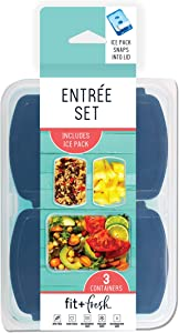 Fit & Fresh Entree Set with Ice Pack, 3 Reusable Portion Control Containers, BPA-Free, Microwave/Dishwasher Safe Lunch Box, Entrée, Blue