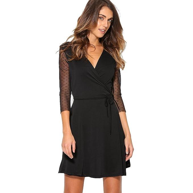 VENCA Vestido Corto de Fiesta Mujer by Vencastyle - 007617,Negro,S