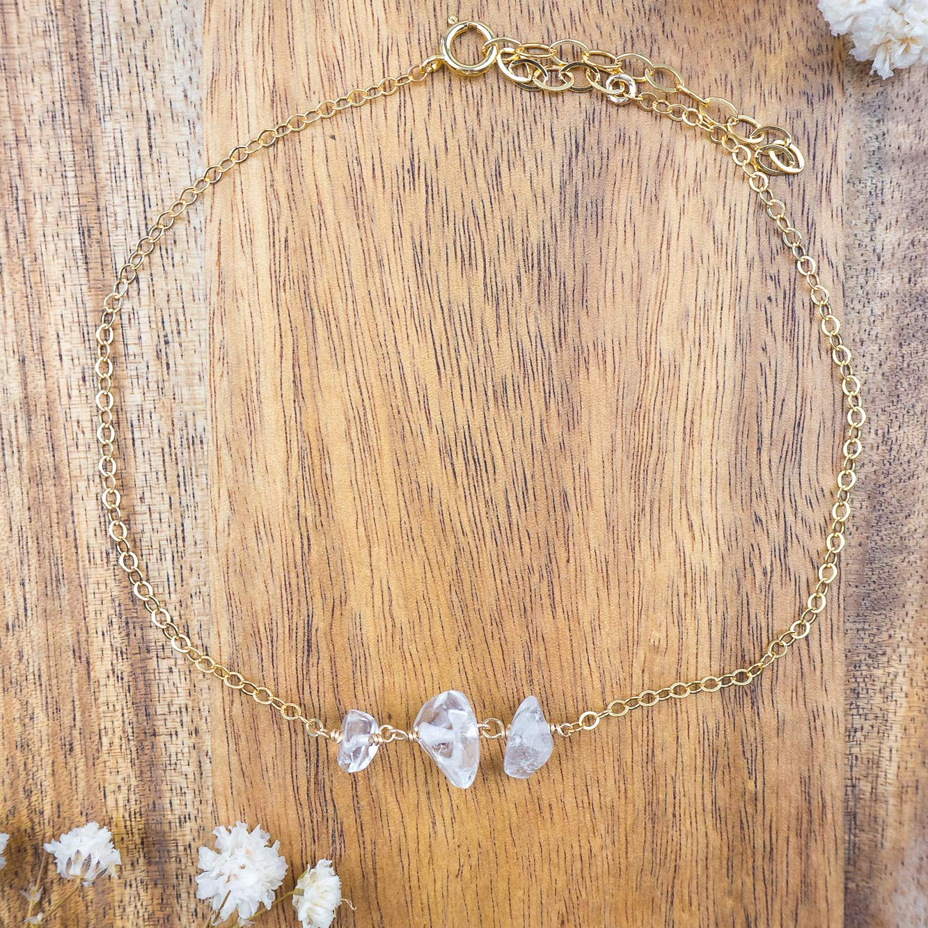 Crystal Quartz beaded chain crystal anklet in 14k gold fill 8 with 2 adjustable extender April birthstone