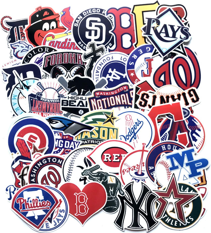 GorQueen 53pcs MLB Baseball Team Logo Stickers Pack PVC Gifts Toys for Kids Teens Travel Case Sticker Skateboard Guitar Door Car Window Laptop Phone Luggage Bicycle Graffiti(MLB Baseball Team Logo)