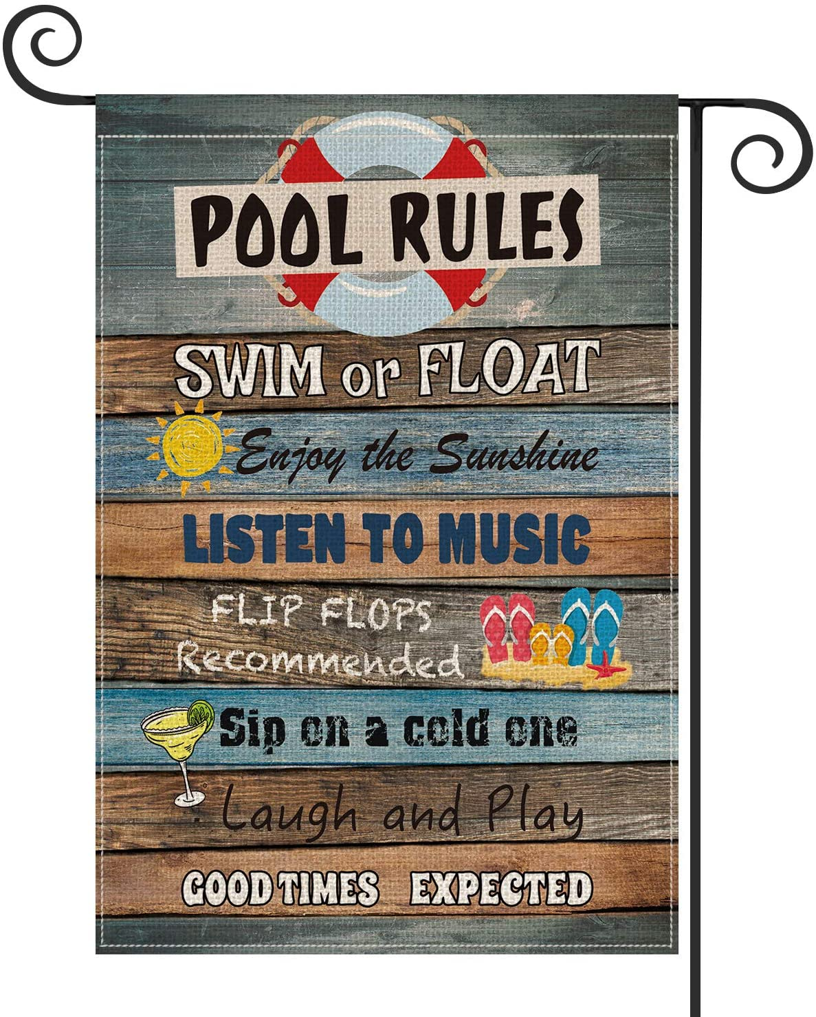 AVOIN Pool Rules Slogan Wood Garden Flag Vertical Double Sized Swim Or Float, Enjoy The Sunshine Yard Outdoor Decoration 12.5 x 18 Inch