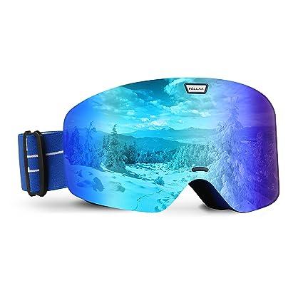 75373f92187 VELLAA Ski Goggles for Snowboard & Snowmobile, Snowboarding Goggles UV400 Protection  OTG,Snow Goggles Anti Fog Adjustable Anti Slip Strap for Men Women Boys ...