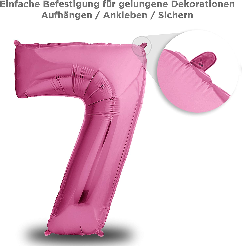 envami Luftballon Geburtstag Nr 101cm Geburtstagsdeko Ballon Zahl Deko zum Geburtstag Riesen Folienballon in 40 18 XXL Pink fliegt mit Helium