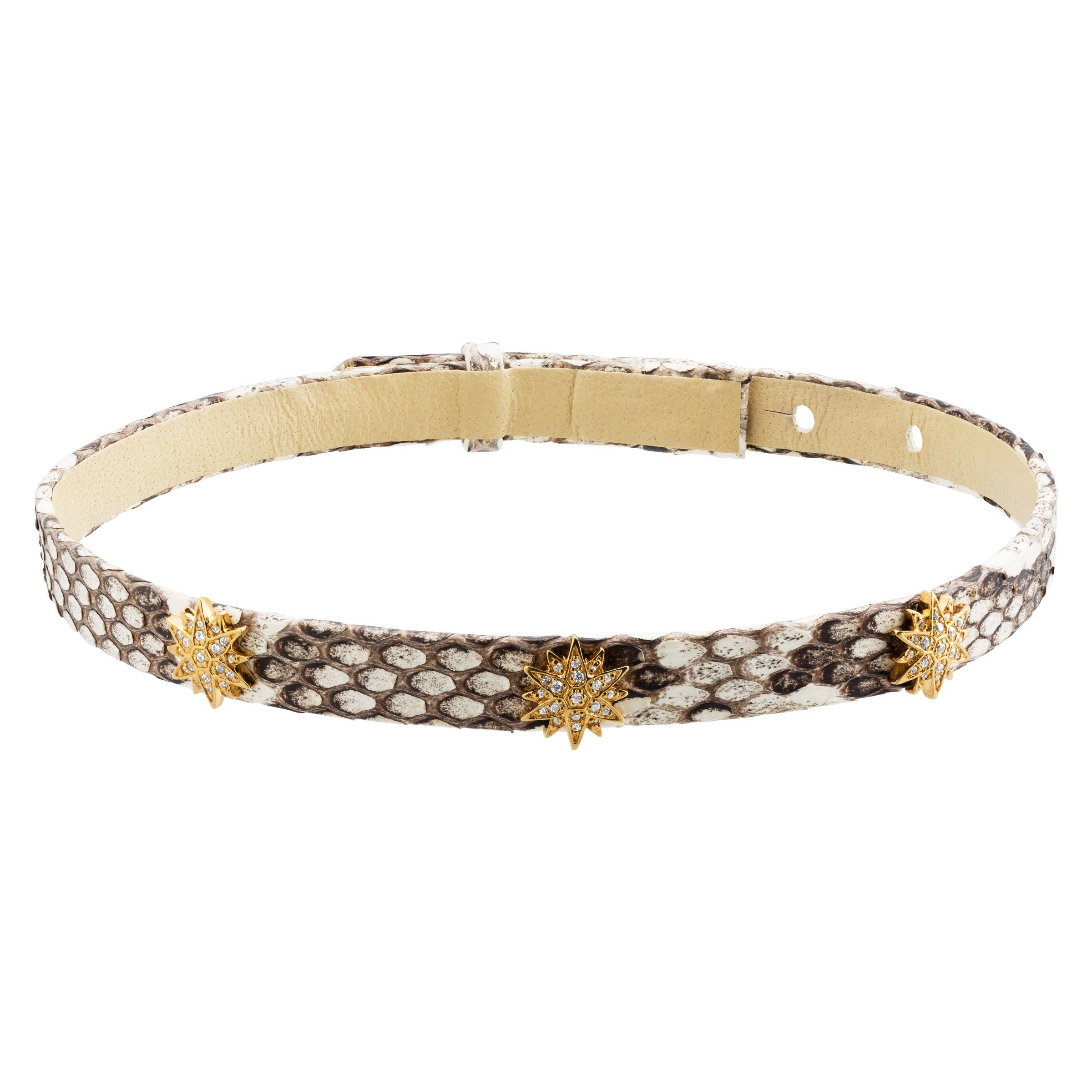 Cristina Sabatini Radiant Choker, Cubic Zirconia, Genuine Tan Python Leather in 18K Gold-Plated Sterling Silver, 15''