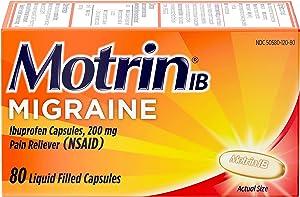 Motrin IB Migraine Liquid Gel Caps, Ibuprofen 200 mg, Migraine Relief Medicine, 80 ct