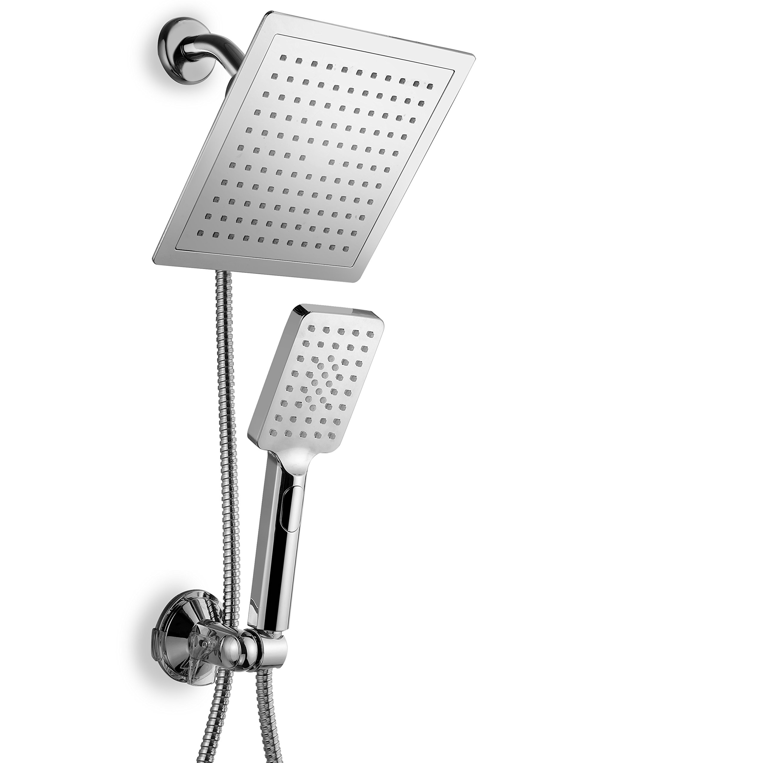 DreamSpa Hotel Spa Ultra-Luxury 9'' Square Rainfall Shower Head / Handheld Combo. Convenient Push-Button Flow Control for easy one-hand operation. Switch flow settings with same hand! Premium Chrome.