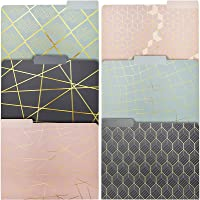 Decorative File Folders with Gold Foil Accents, 1/3 Cut Tab (11.5 x 9.5 In, 12 Pack)