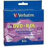 Verbatim DVD+R DL AZO 8.5GB 8x-10x Branded Double Layer Recordable Disc, 5-Disc Slim Case 95311