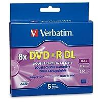 Verbatim DVD+R DL 8.5GB 8X with Branded Surface - 5pk Jewel Case Box