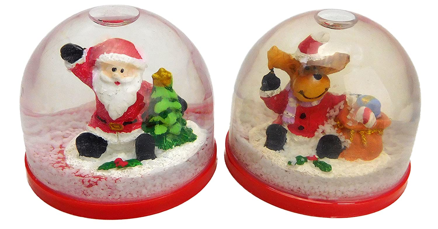 Pack Of 2 - 4cm Santa & Reindeer Design Christmas Snowglobes - Christmas Decorations … PMS