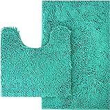 MAYSHINE Bathroom Rug Toilet Sets and Shaggy Non Slip Machine Washable Soft Microfiber Bath Contour Mat (Turquoise…