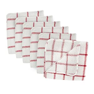 DII Microfiber Scratch Free Scrubber Cleaning Dishcloth with Poly Mesh Scour Side, Wash Cloth Perfect for Kitchens, Dishes, Car, Dusting, Drying Rags, 12x12, Set of 6 - Red Windowpane
