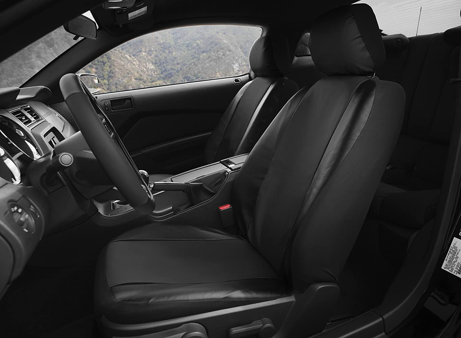 Steering Wheel Cover Universal Fit for Car Truck OxGord 17pc Faux Leather Black Car Seat Covers Set SUV Airbag