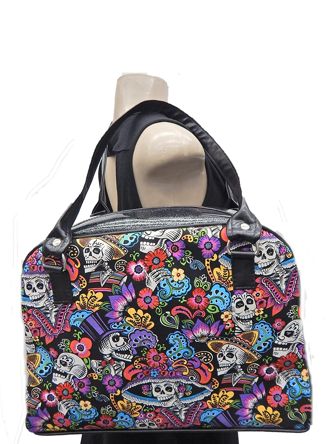 "USA HANDMADE FASHION LARGE BOWLER BAG WITH ""KATRINA CHIQUITA "" & ""BLACK SHINY FABRIC"" , NEW, MMDRB 1052-G"