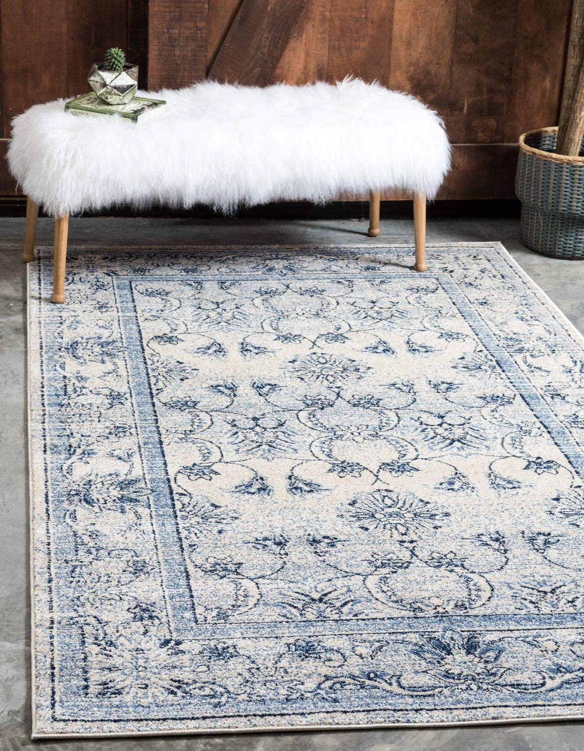 Unique Loom La Jolla Collection Tone-on-Tone Traditional Ivory Blue Area Rug 4 0 x 6 0