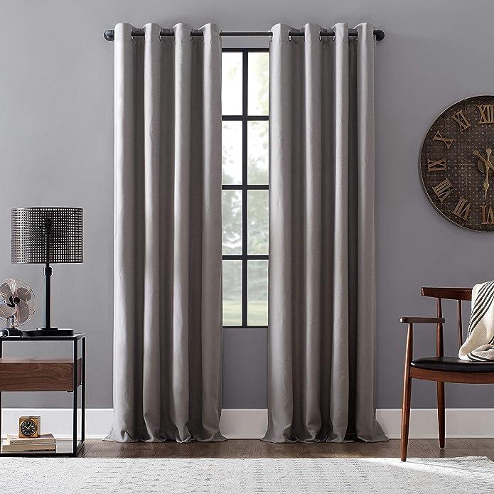 52u0022x95u0022 Linen Blend Blackout Grommet Top Curtain Gray - Archaeo