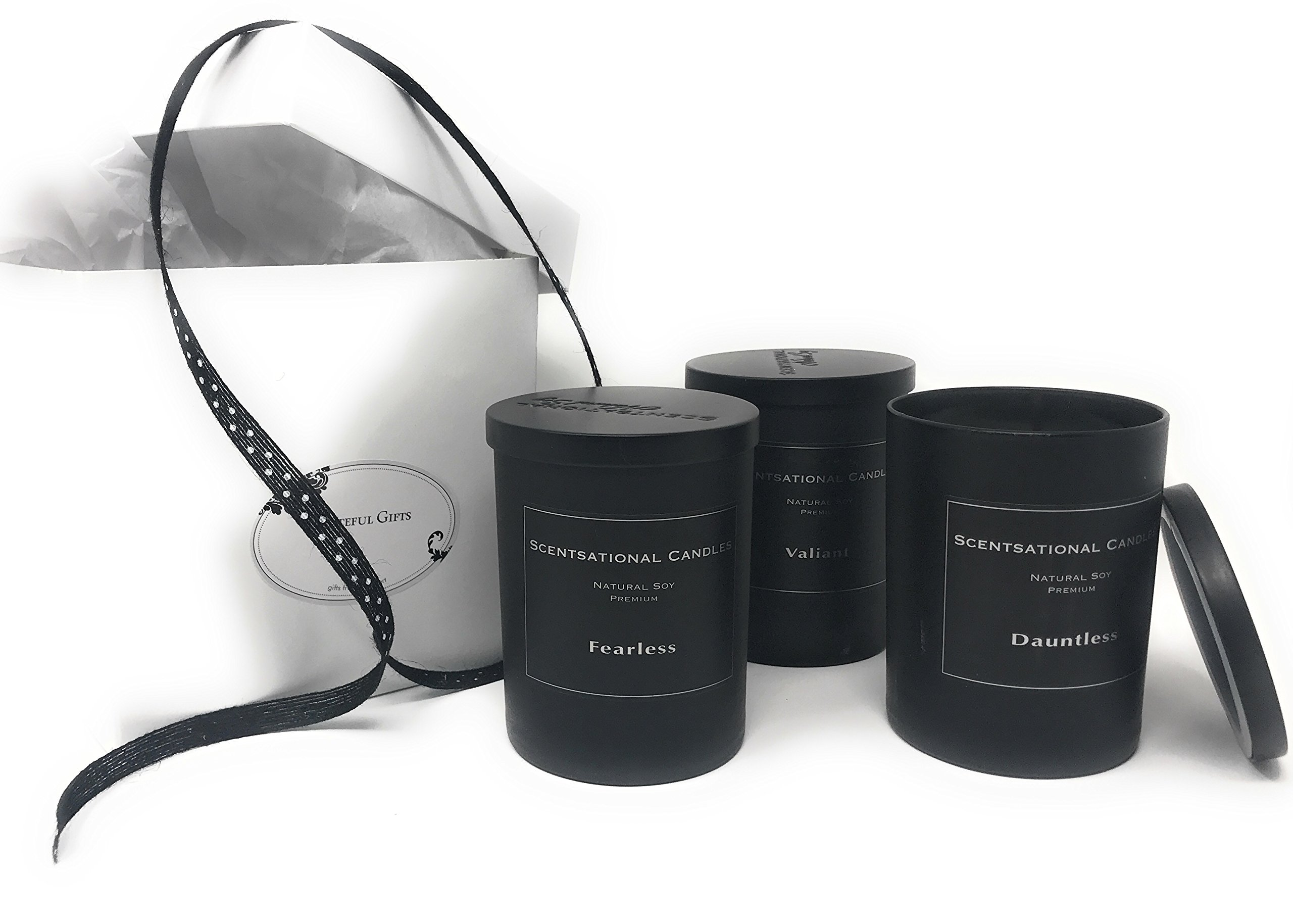 Grateful Gifts Man Candle Gift Set, Ready to Give, Includes 3 of 11oz. Scentsational Candles - Dauntless, Fearless and Valiant, All Masculine Manly Scented Candles