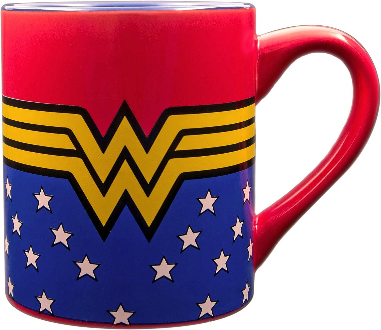 Silver Buffalo WW9032Z DC Comics Wonder Woman Logo Wrap Around with Stars Laser-Printed Ceramic Mug, 14-Ounces,Blue and Red