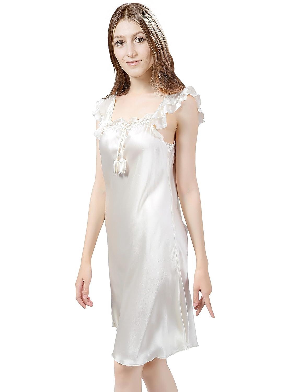 ElleSilk Camisa De Dormir De Seda para Mujer, 100% Seda De Morera, 22 Mamá, Súper Suave Y Ligero: Amazon.es: Ropa y accesorios