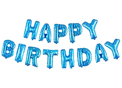 Treasures Gifted 16 Inch Blue Happy Birthday Balloons Banners Mylar Aluminum Decorations Foil Letters With Stars