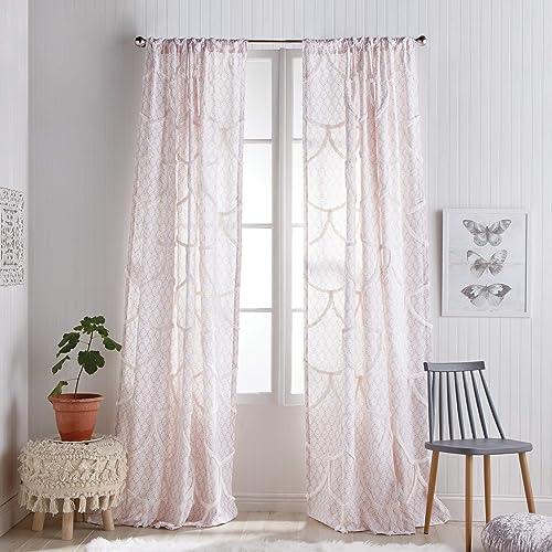 Peri Home Chenille Scallop Sheer Back Tab Curtain Panel, 84-inch, Blush