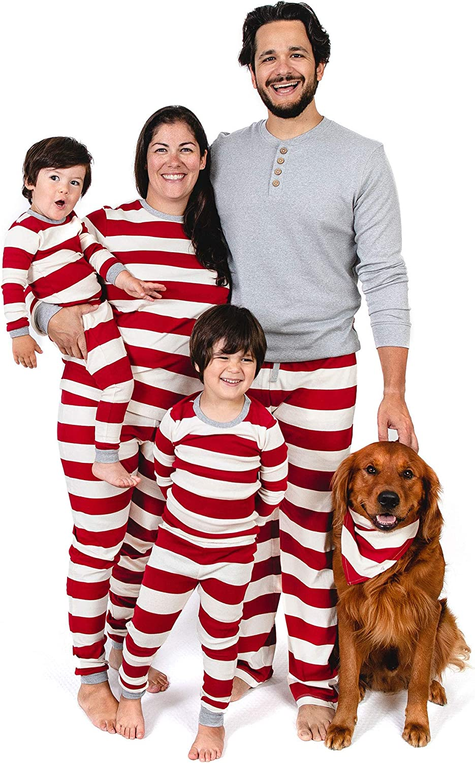 Burt's Bees Baby Family Jammies, Holiday Matching Pajamas, 100% Organic Cotton PJs, Red Rugby Stripes, Womens Medium