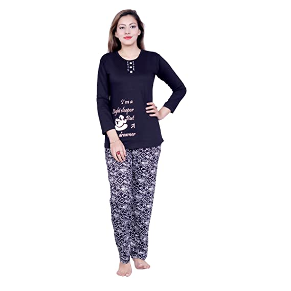 ca95a317ff NIght Fit Sinker Night Suit F/S Black & Black Print Lower: Amazon.in:  Clothing & Accessories