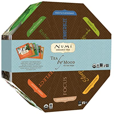 Numi Organic Tea By Mood Gift Set, Tea Gift Box, 40 bags, Assortment of Black, Pu-erh, Green, Mate, Rooibos, and Herbal Tea Variety Pack, Non-GMO Biodegradable Tea Bags, Premium Organic Bagged Tea