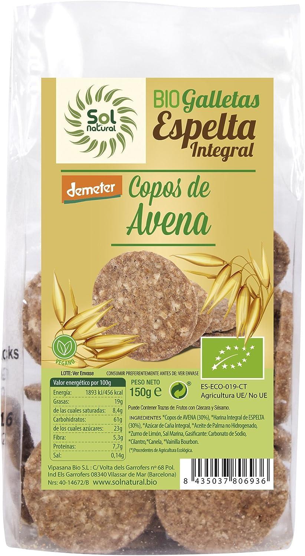 Sol Natural Mini Galletas de Espelta Integral, con Copos de Avena ...