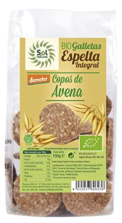 Sol Natural Mini Galletas de Espelta Integral, con Copos de Avena ...