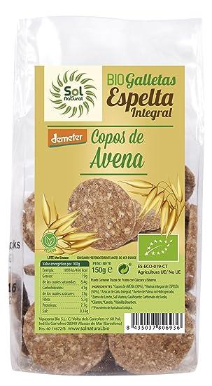 Sol Natural Mini Galletas de Espelta Integral, con Copos de Avena - Paquete de 6