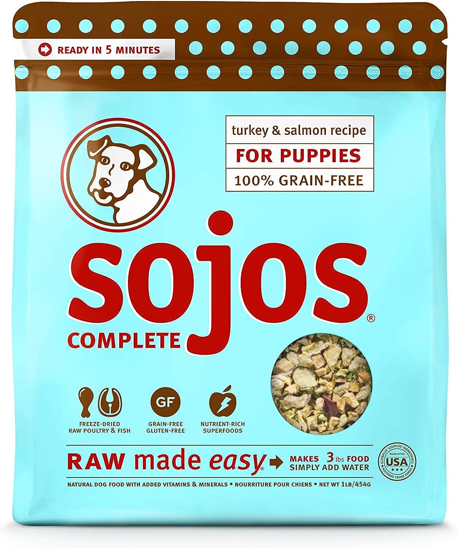 SOJOS Complete Turkey & Salmon Puppy Recipe Grain-Free Freeze-Dried Raw Dog Food, 1 Pound Bag