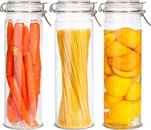 ComSaf Airtight Glass Canister with Lid Set of 3, 75oz Large Food Storage Jar, Tall Spaghetti Container with Seal Wire Clamp Fastening for Kitchen Fermenting Preserving Canning Pasta Flour Cereal