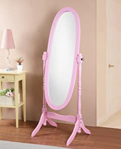 Roundhill Furniture 3488PI Queen Anna Style Floor Cheval Mirror, Pink