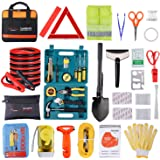 Roadside Emergency Car Kit with Jumper Cables, Auto Vehicle Safety Road Side Assistance Kits, Winter Car Kit for Women and Me