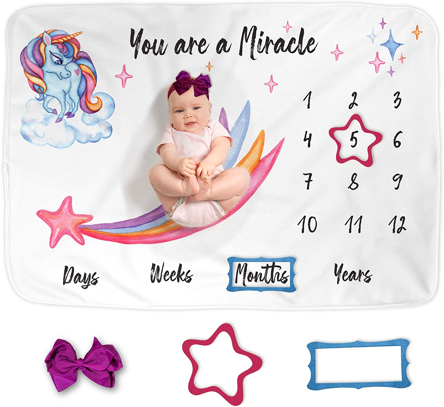"Luka&Lily Baby Monthly Milestone Blanket Girl, Photo Blanket for Newborn Baby Shower, Unicorn Baby Blanket for Baby Girl Nursery Decor, Baby Growth Chart Blanket, Includes Headband + 2 Frames 60""x40"""