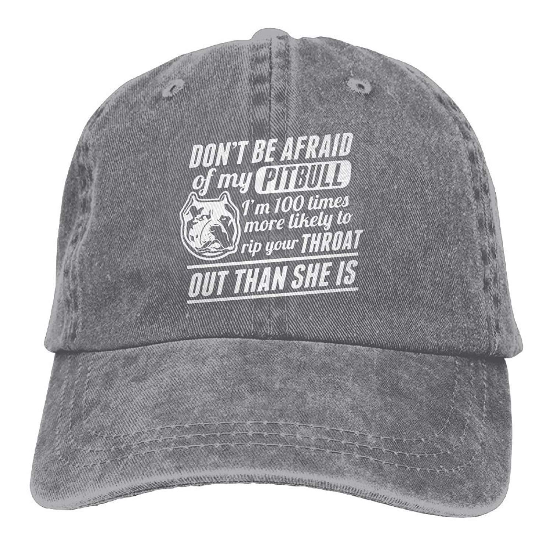 Dont Be Afraid of My Pitbull Plain Adjustable Cowboy Cap Denim Hat for Women and Men JTRVW Cowboy Hats