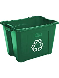 Rubbermaid Commercial Products FG571473GRN Stackable Recycling Box, 14 gal, Green
