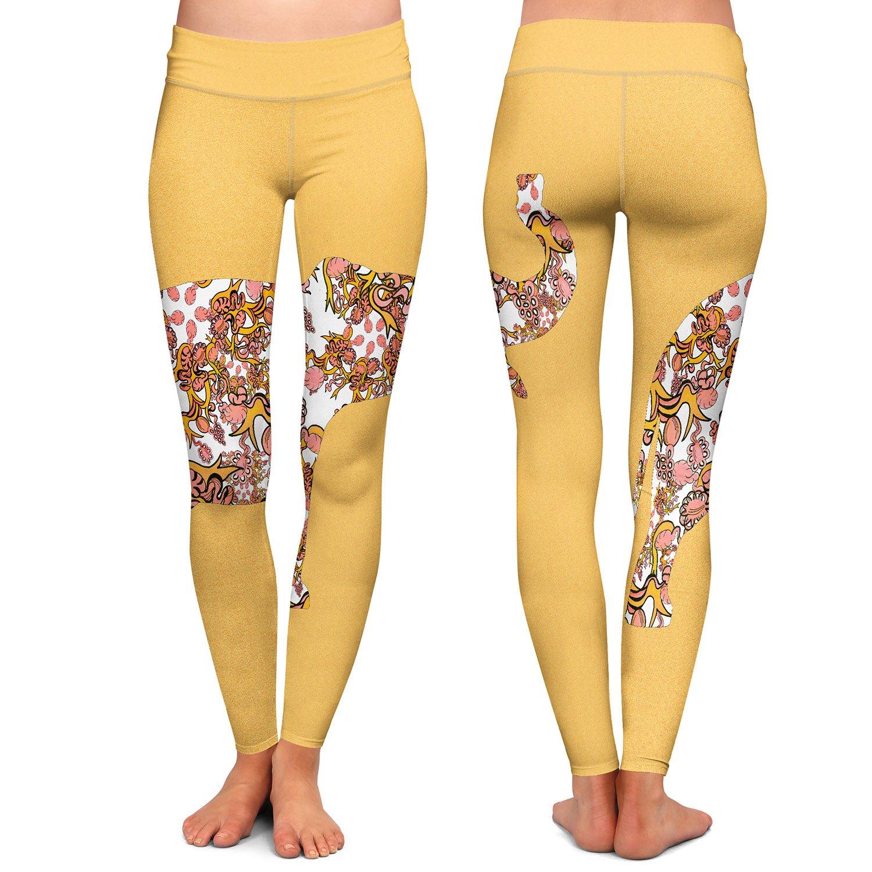 Dia Noche Athletic Yoga Leggings by Susie Kunzelman Elephant II Ribbons Tangerine